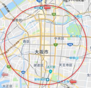 大阪駅と天王寺駅の位置(地図)