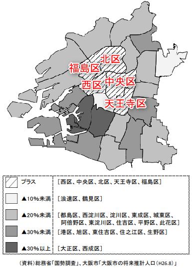5区(北区、中央区、西区、福島区、天王寺区)の地図