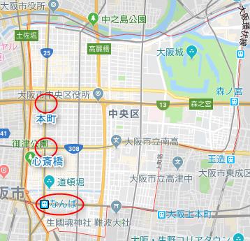 大阪市中央区ワンルーム投資エリア(詳細地図)