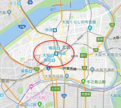大阪市北区ワンルーム投資エリア(詳細地図)