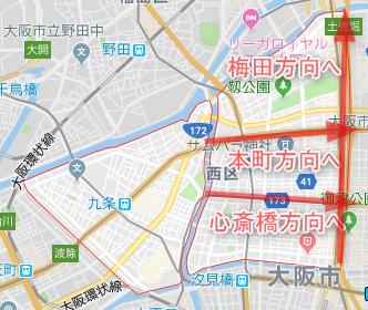 大阪市西区のワンルーム投資エリア(詳細地図)