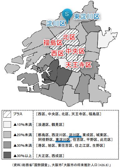 大阪の人口減少予想(地図))