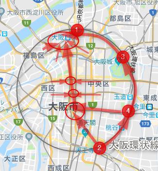 大阪中心部の人の動き(地図)