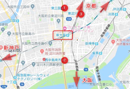 新大阪駅周辺の駅(地図)