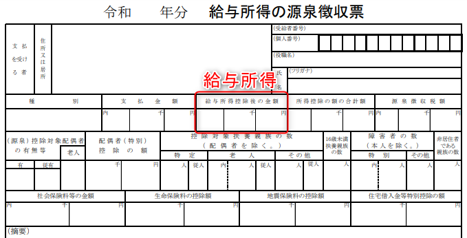 源泉徴収票の給与所得(給与所得控除後の金額)