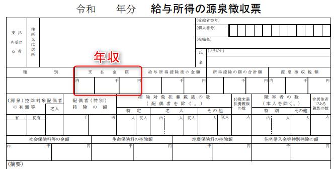 源泉徴収票の年収(支払金額)